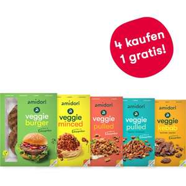 2x amidori vegetarische/vegane Probierbox für je 11,74€ (veggie burger, veggie minced, 2x veggie pulled, veggie kebab) [VSK-frei ab 20€]