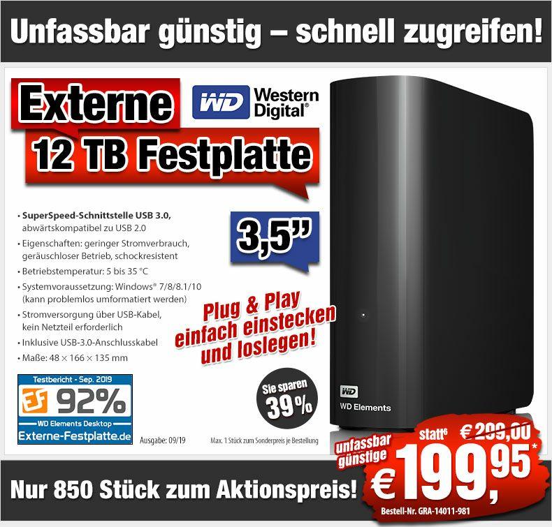Western Digital 12 TB Externe Festplatte - USB 3.0