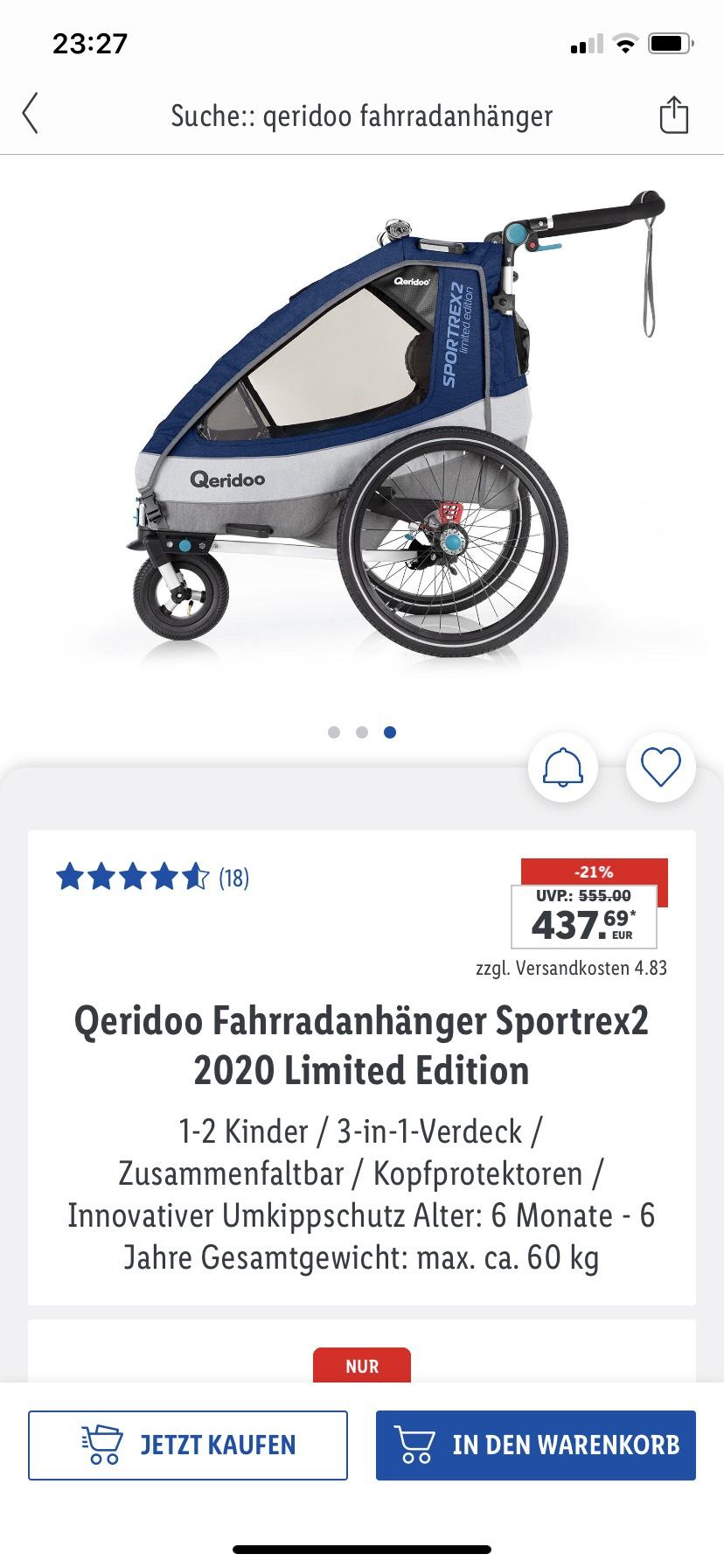 Queridoo Sportrex2 Fahrradanhänger