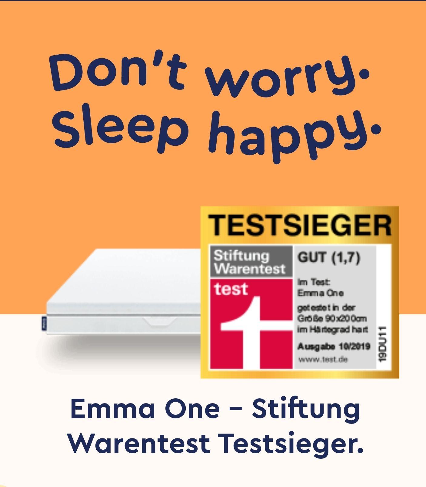 Emma One Testsieger Matratze Medium/Hart 90x200cm (100 Nächte Probeschlafen) Versand ist kostenlos