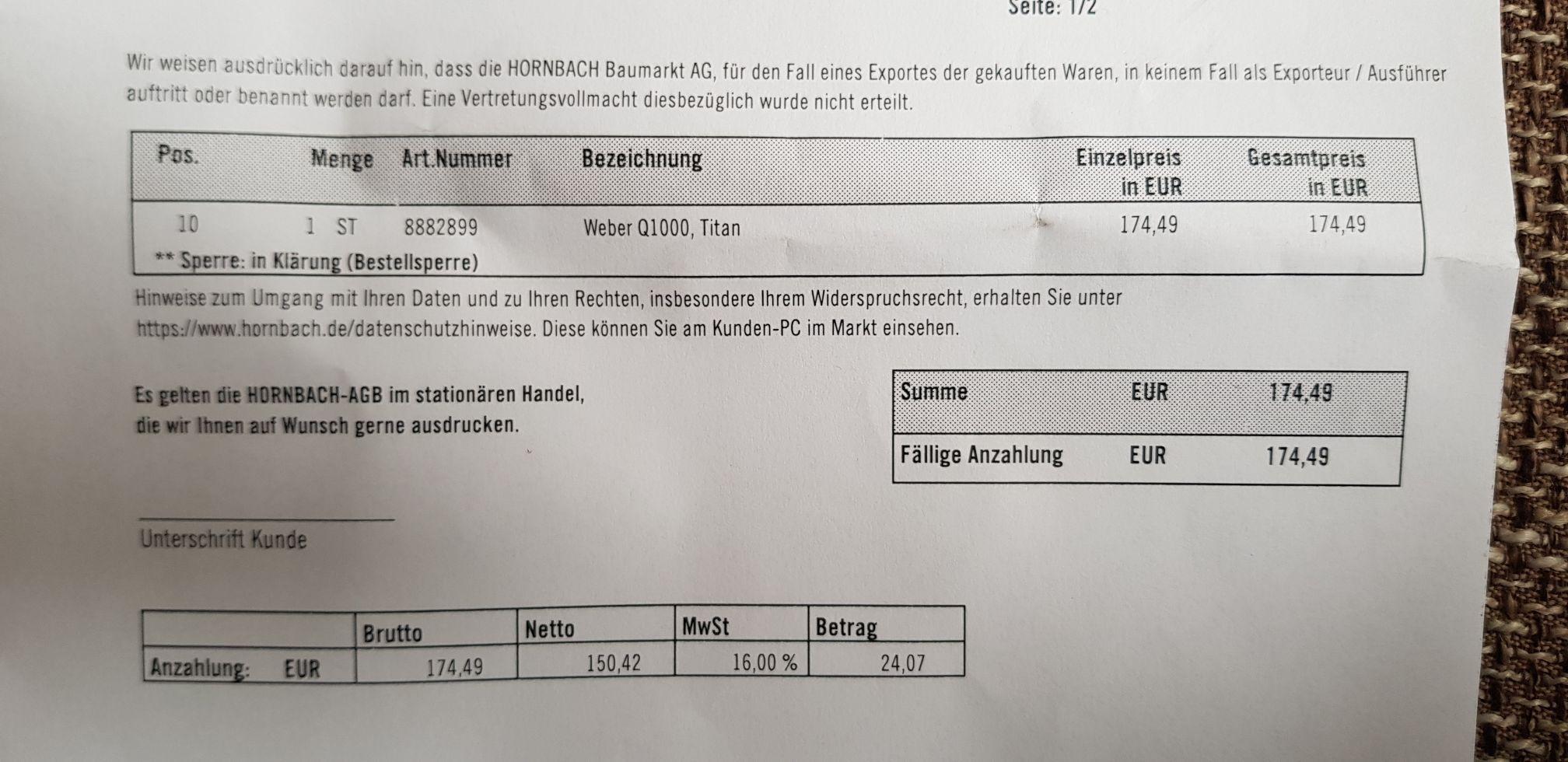 [Hornbach Lübeck] Weber Q1000 Gasgrill zum Angebotspreis bestellbar