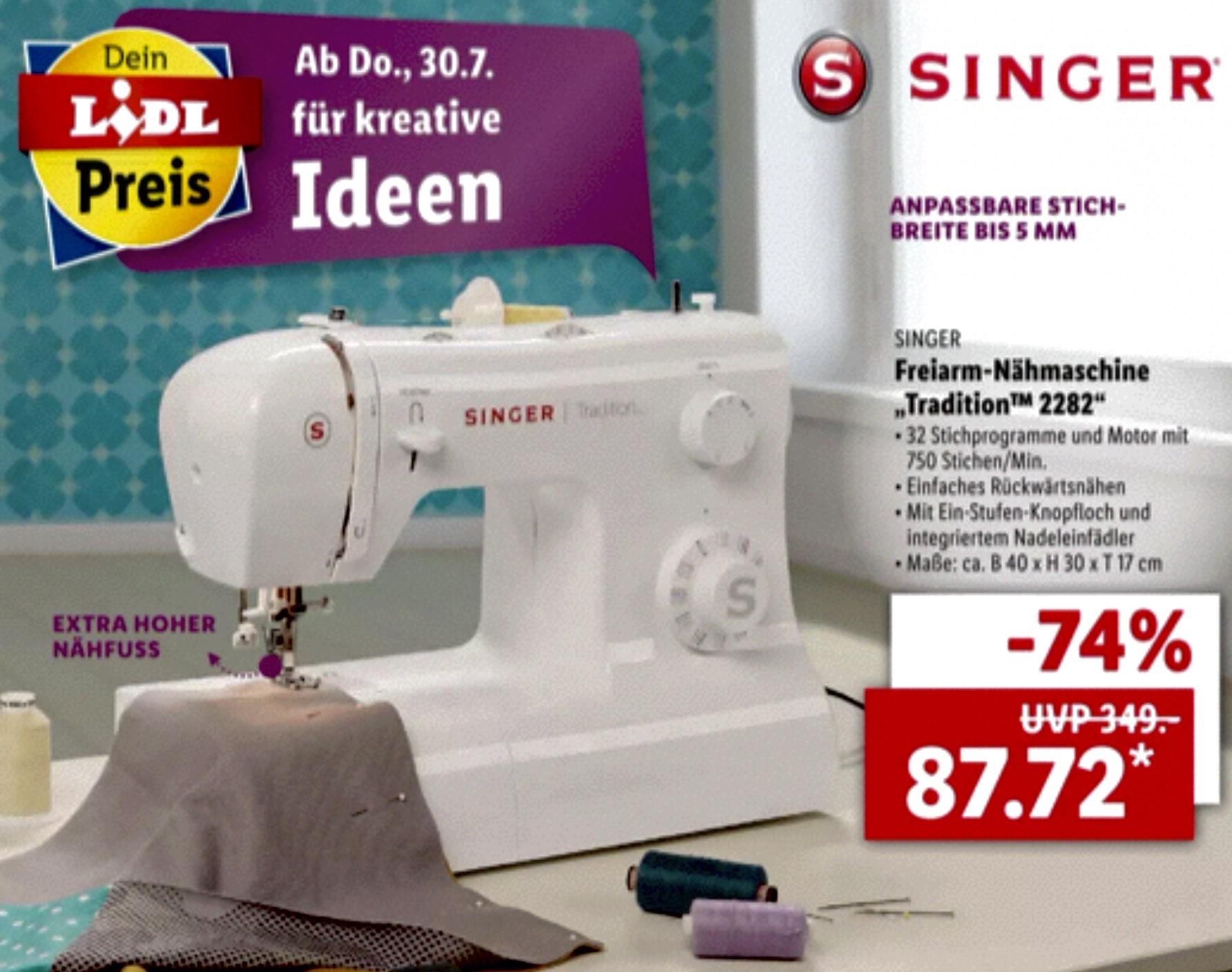 SINGER Freiarm-Nähmaschine Tradition 2282 Automatischer Nadeleinfädler 32 Stichprogramme für 87,72€
