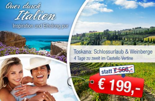 Ab-in-den-Urlaub-Deals: Toskana: Schlossurlaub & Weinberge für 199,00 €