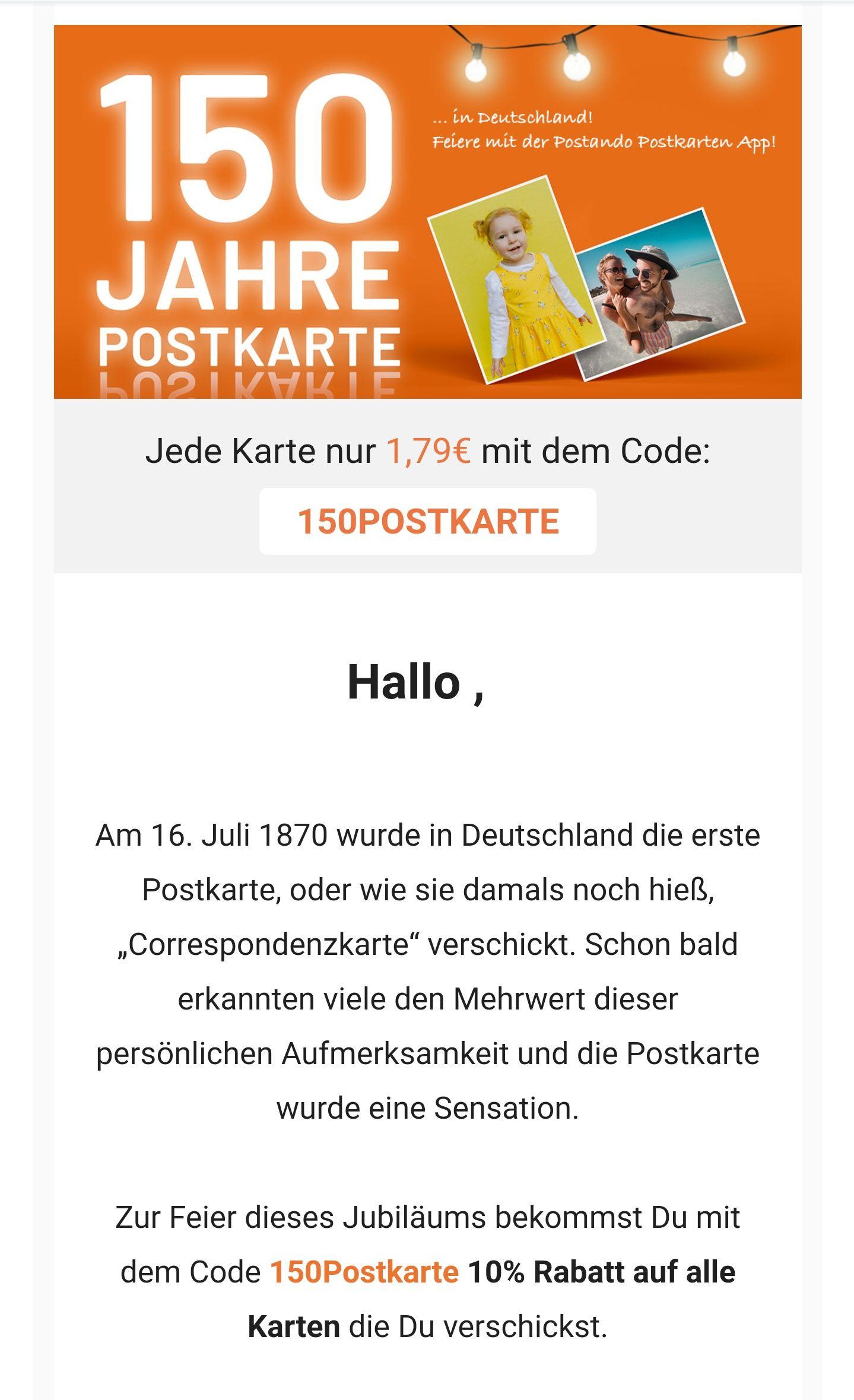 10% Auf Postkarte in Postando PostkartenApp