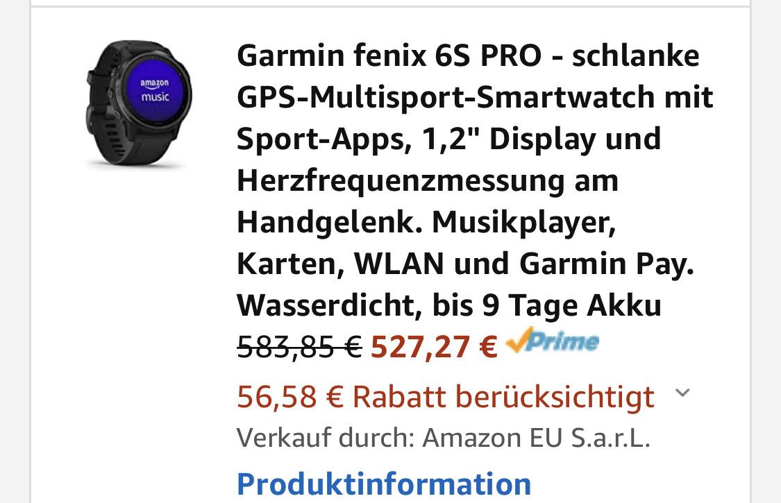 [Amazon] Garmin Fenix 6s Pro