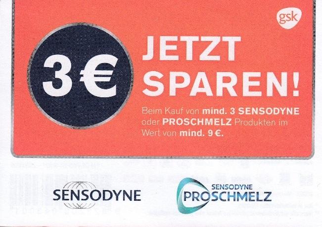 3€ Sofort-Rabatt (Sensodyne & Sensodyne ProSchmelz) beim Kauf von 3 Produkten im Wert von 9 € - gültig bis 02.10.2020