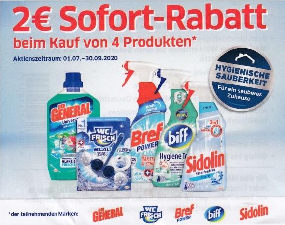 2€ Sofort-Rabatt beim Kauf von 4 Produkten (general, WC frisch, Bref, biff, Sidolin)- gültig bis 30.9.2020