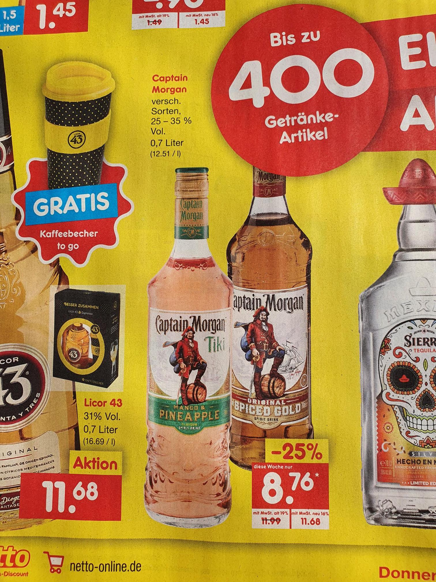 [Lokal BaWü/NRW - Netto ohne Hund] Captain Morgan Tiki Mango&Pineapple / Spiced Gold für 8,76€