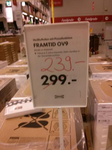 (Lokal) Ikea Hanau FRAMTID OV9 Heißluftofen mit Pizzafunktion
