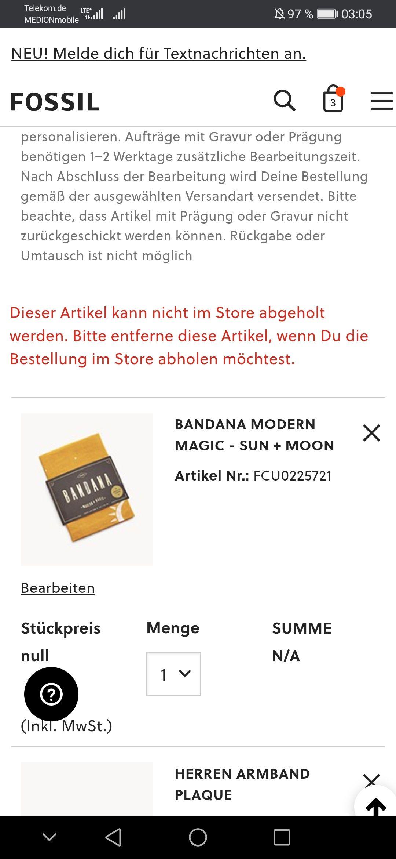 Preisfehler! Fossil Bandana für null (NULL). €