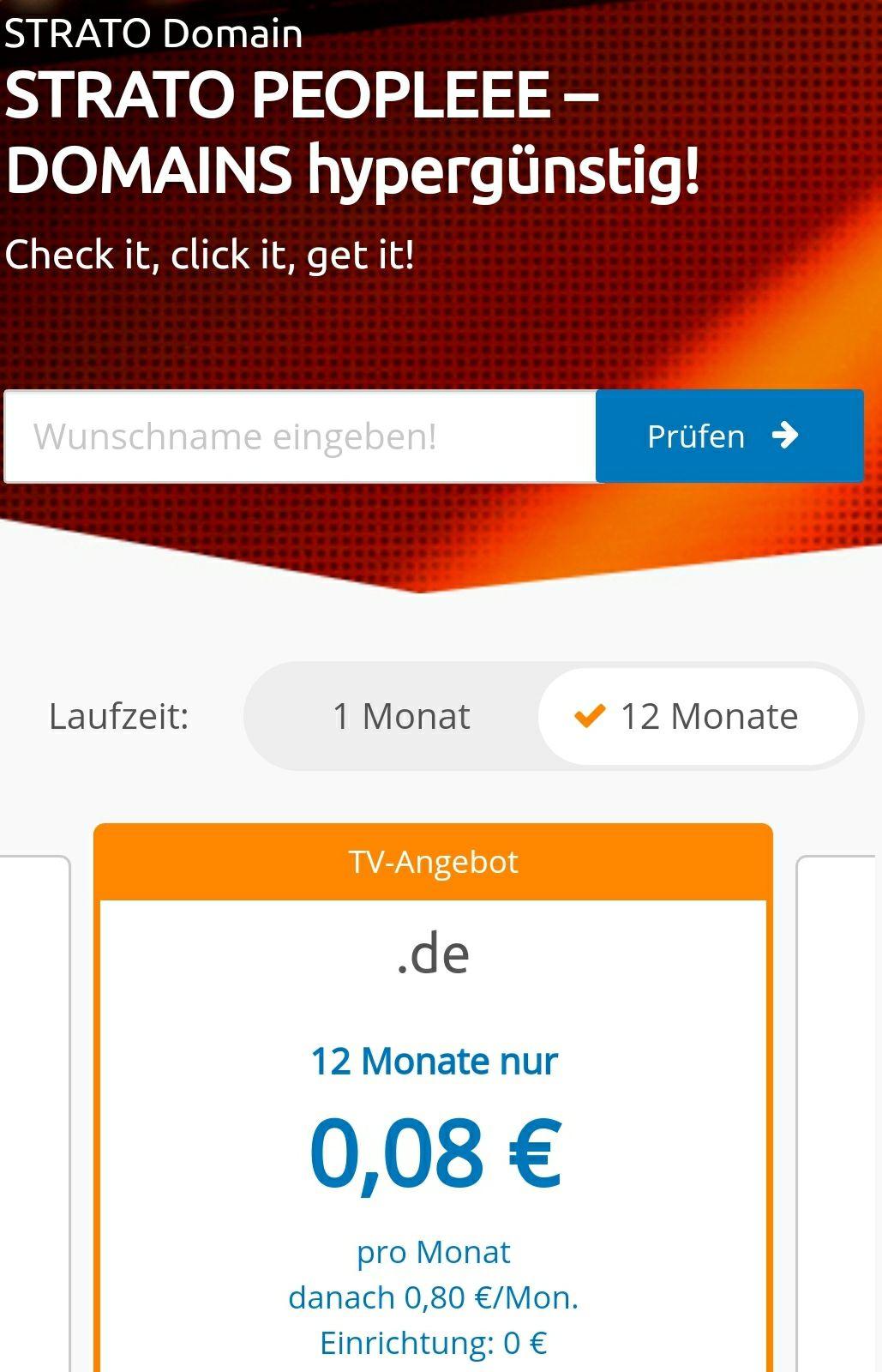.de Domain bei Strato für 0,08€ pro Monat (0,96€/Jahr) inkl. 2GB Mail-Account für 12 Monate