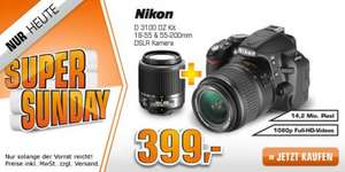 NIKON D3100 mit 2 Objektiven (18-55II mm + 55-200mm) @ Saturn Super Sunday für 399,00 EUR