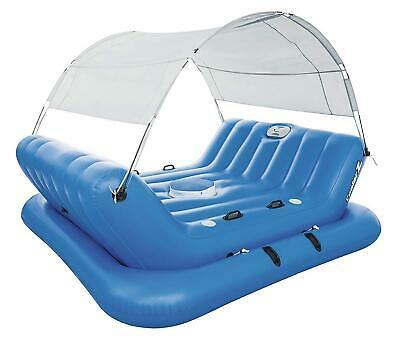 Bestway Badeinsel Luftmatratze 4 Personen Schwimminsel mit Sonnenschutz