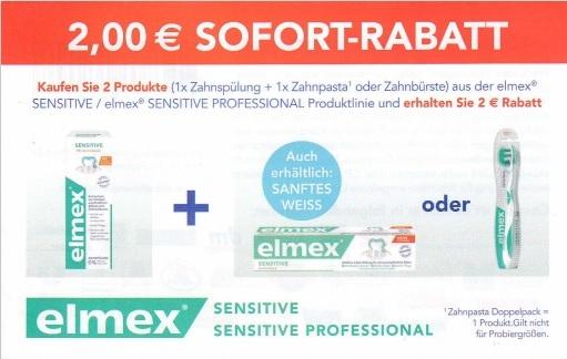 2€ Sofort-Rabatt für elmex (Zahnspülung UND Zahnpasta/-bürste) - gültig bis 31.10.2020