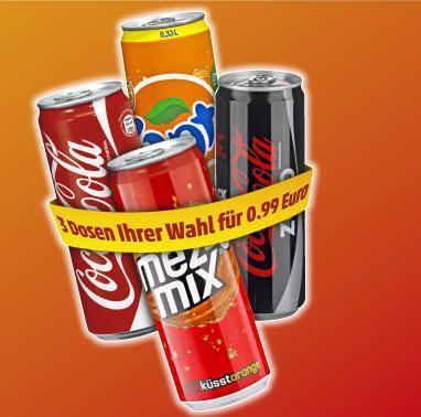[PENNY] Coca Cola, -Zero, Fanta, Mezzo Mix nur 0,33€ Dose - 0,33L