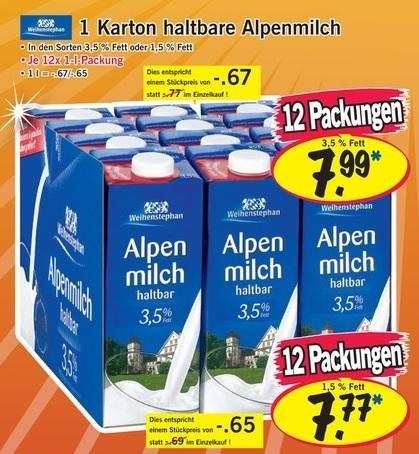 1 Karton Weihnstephan Alpenmilch 12x1l für 7,77€ bei LIDL