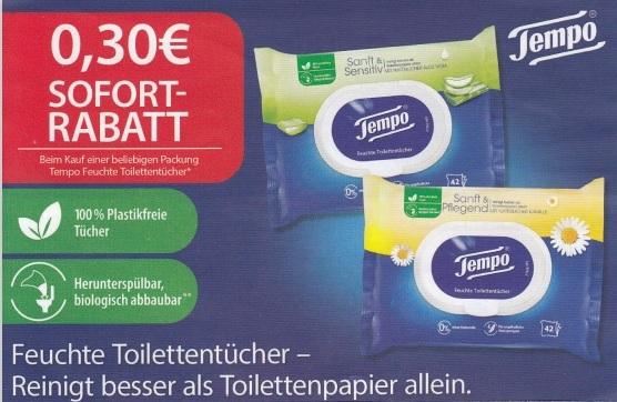 0,30€ Sofort-Rabatt für Tempo Feuchte Toilettentücher - gültig bis 31.12.2020