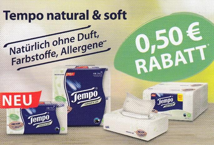 0,50€ Sofort-Rabatt für Tempo natural & soft Produkte - gültig bis 30.09.2020