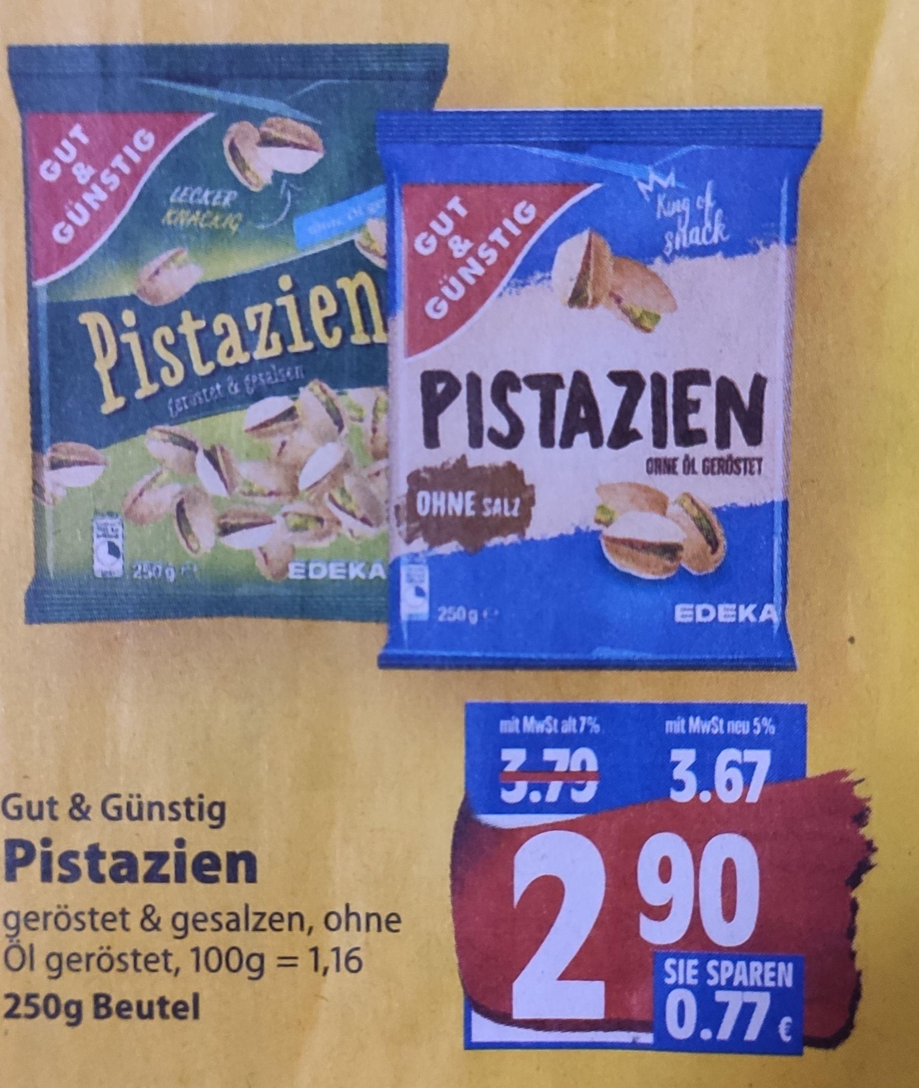 [Edeka Minden-Hannover] Gut & Günstig Pistazien 250g im Angebot für 2,90€