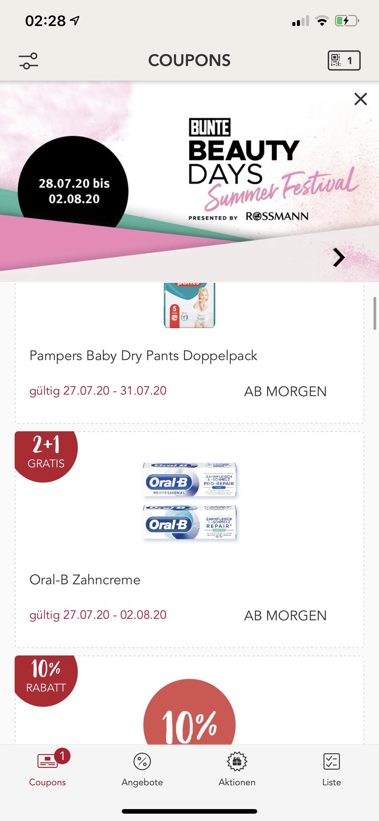 (Rossmann App) 2 plus 1 - Oral-B Zahncreme