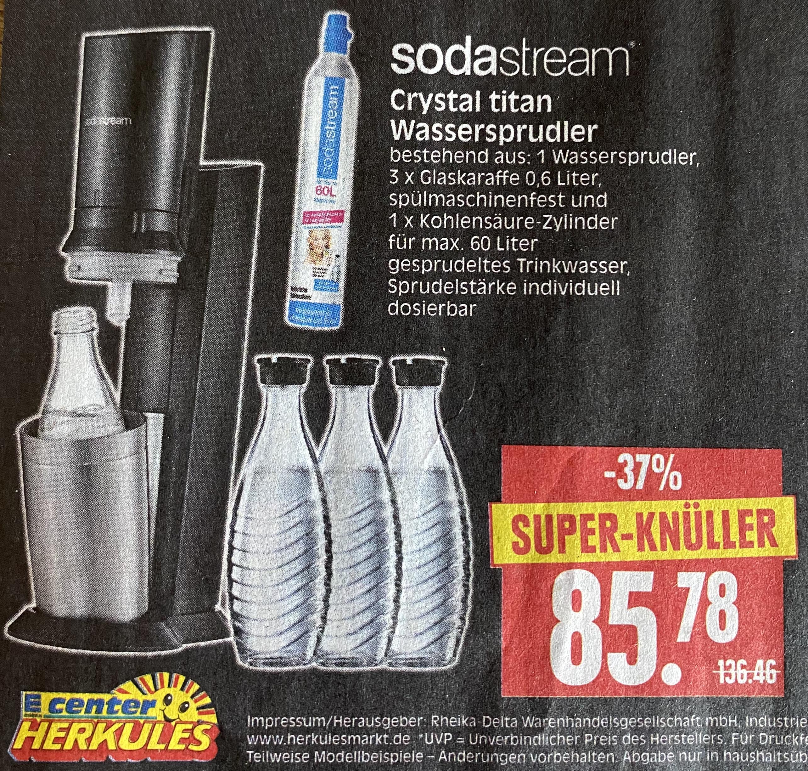 [Herkules Märkte] sodastream Crystal titan mit 3 Glaskaraffen und Zylinder