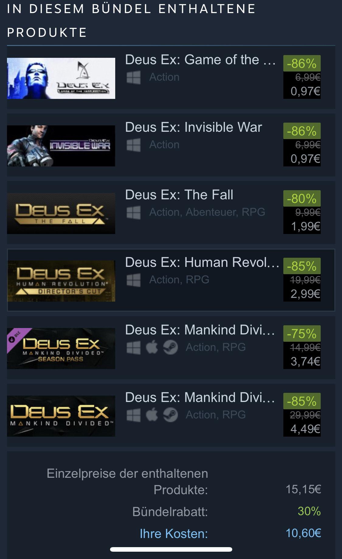 Deus Ex: Complete Collection (Steam) für 10,60€