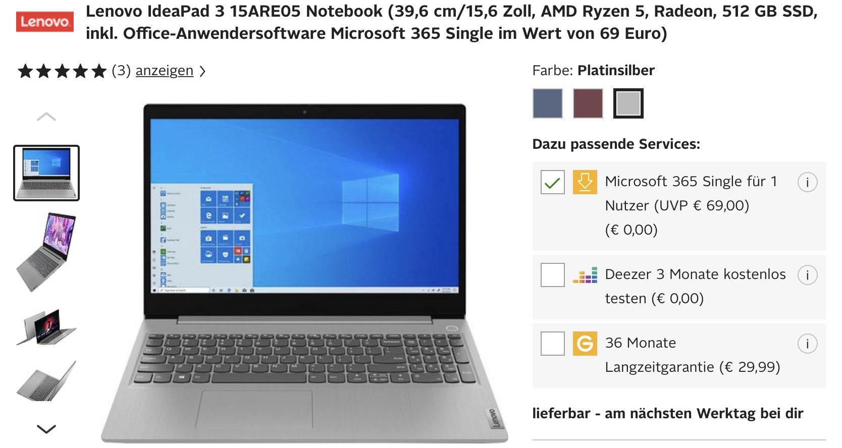 """Lenovo IdeaPad 3 15"""" AMD Ryzen 4500U, 512GB SSD inkl. Office & Windows 10 555€ +VSK"""
