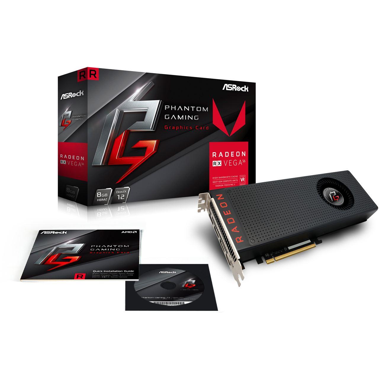 8GB ASRock Radeon RX Vega 56 Phantom Aktiv PCIe 3.0 x16 1xHDMI 2.0 / 3xDisplayPort (Retail)