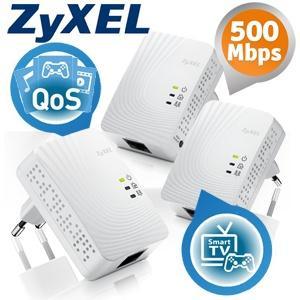 3-er Pack ZyXEL PLA4201 500Mbps Mini Powerline Ethernet Adapter