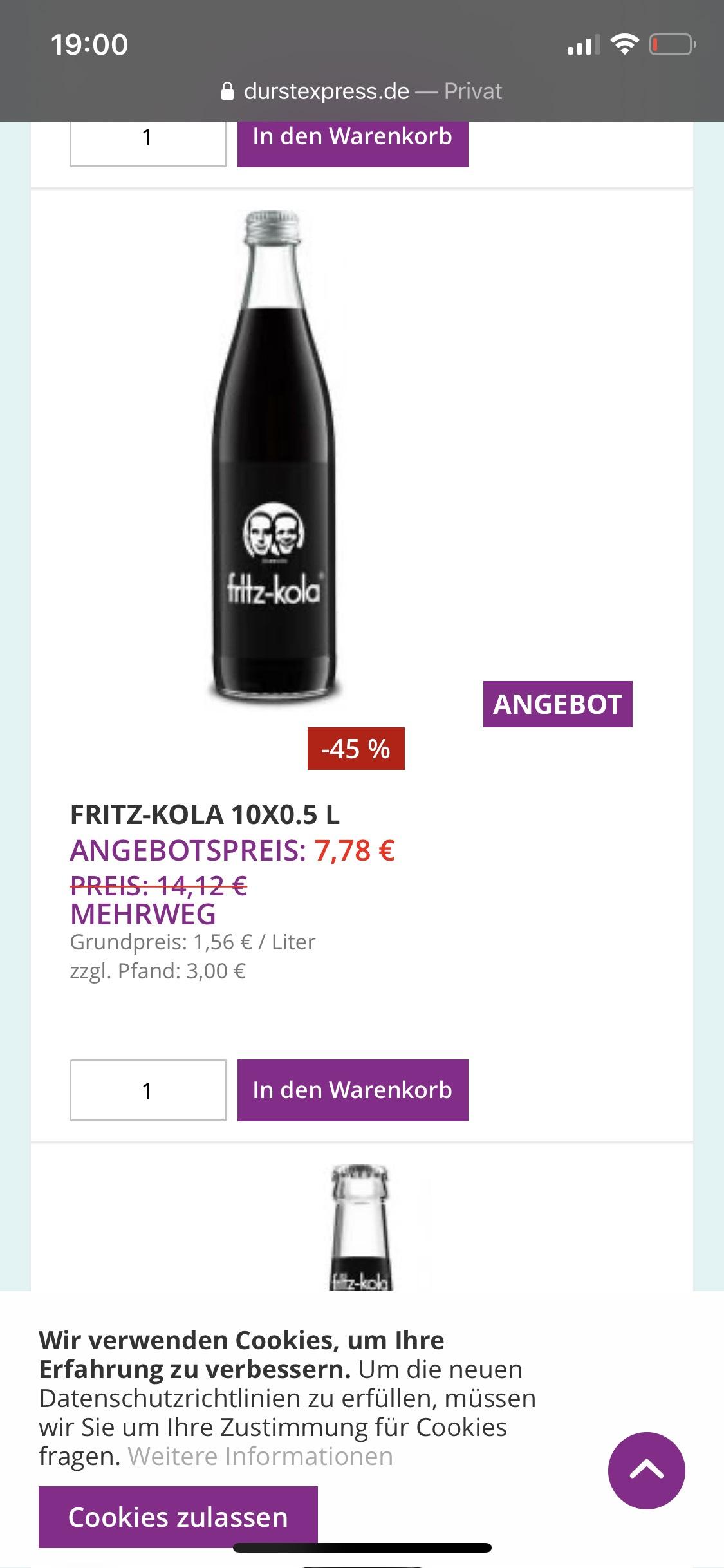 (Lokal) Fritz Kola 10x0,5 Liter