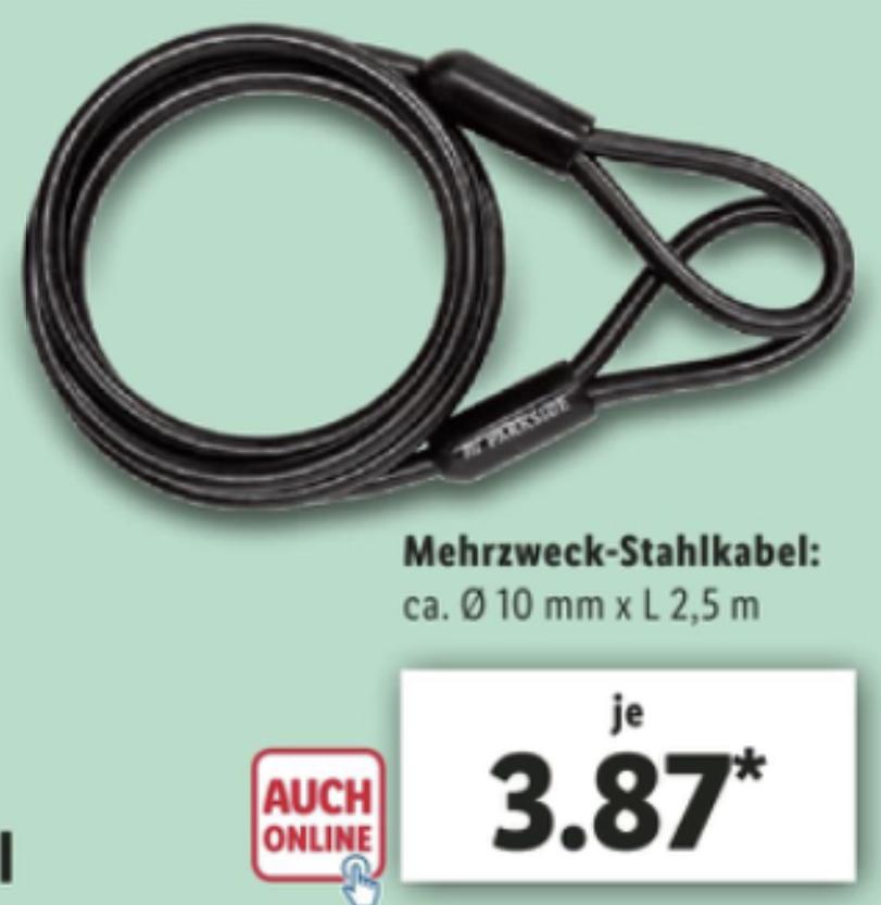 Parkside Mehrzweck Stahlkabel 2,5m Länge 10mm Querschnitt für 3,87€ zur Sicherung von Fahrrädern, Gartenmöbeln, E-Scootern usw.