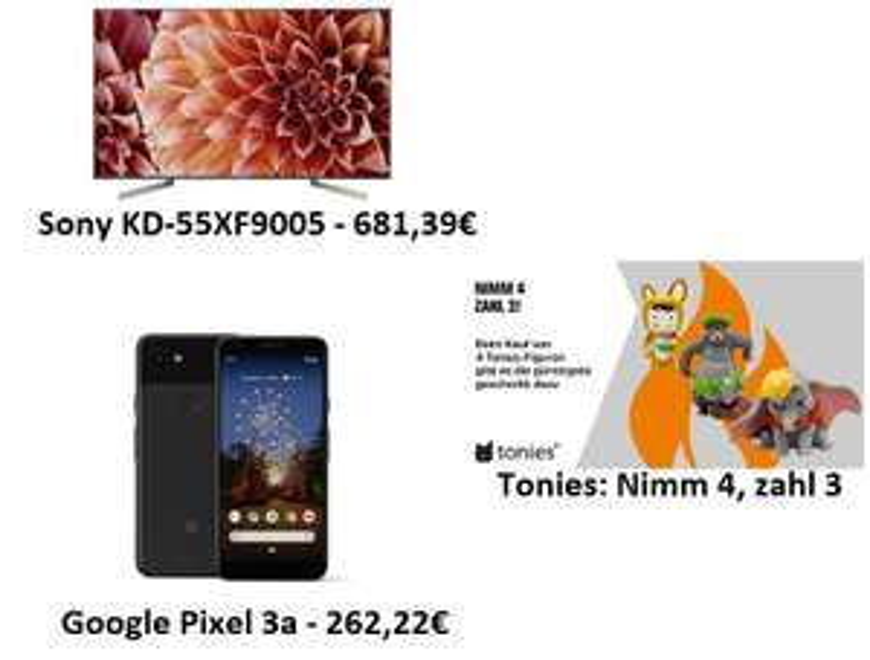 "[saturn Abholung] Sony KD-55XF9005 - 55"" 4K TV (120 Hz, FALD) - 681,39€ | Tonies 4-für-3-Aktion | Google Pixel 3a - 262,22€"