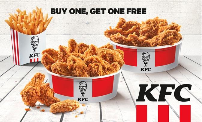 KFC 2 für 1 Gutschein: 2x Hot Wings oder Crispys zum Preis von Einem + 1 Portion Pommes gratis (lokal)