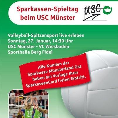 **** Eintritt USC Münster - Wiesbaden (So 27.01) für Kunden der Sparkasse Münsterland Ost