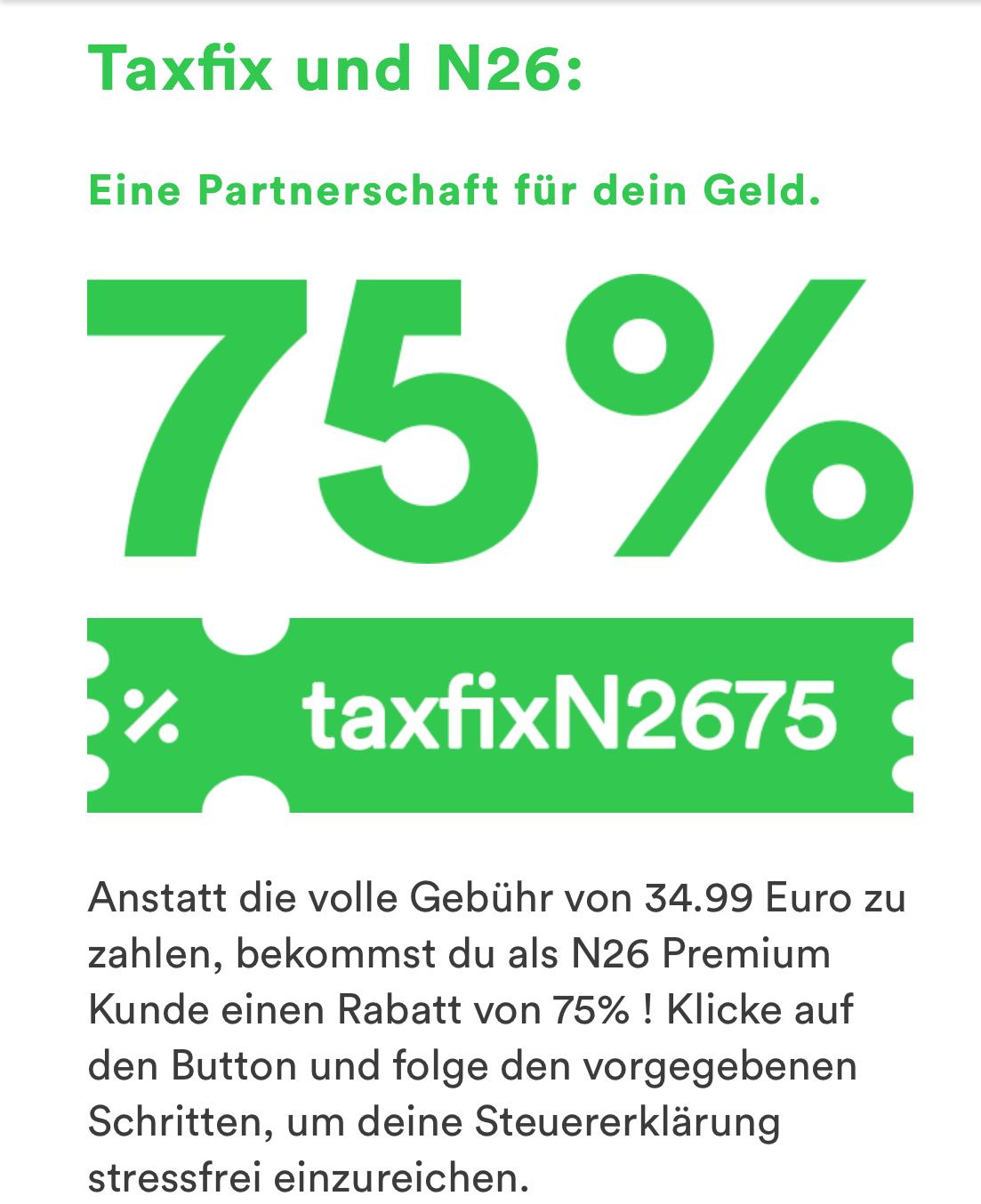 75% Rabatt bei der Steuererklärung bei Taxfix, 8,75€ werden nur fällig bei einer Steuererstattung > 50€