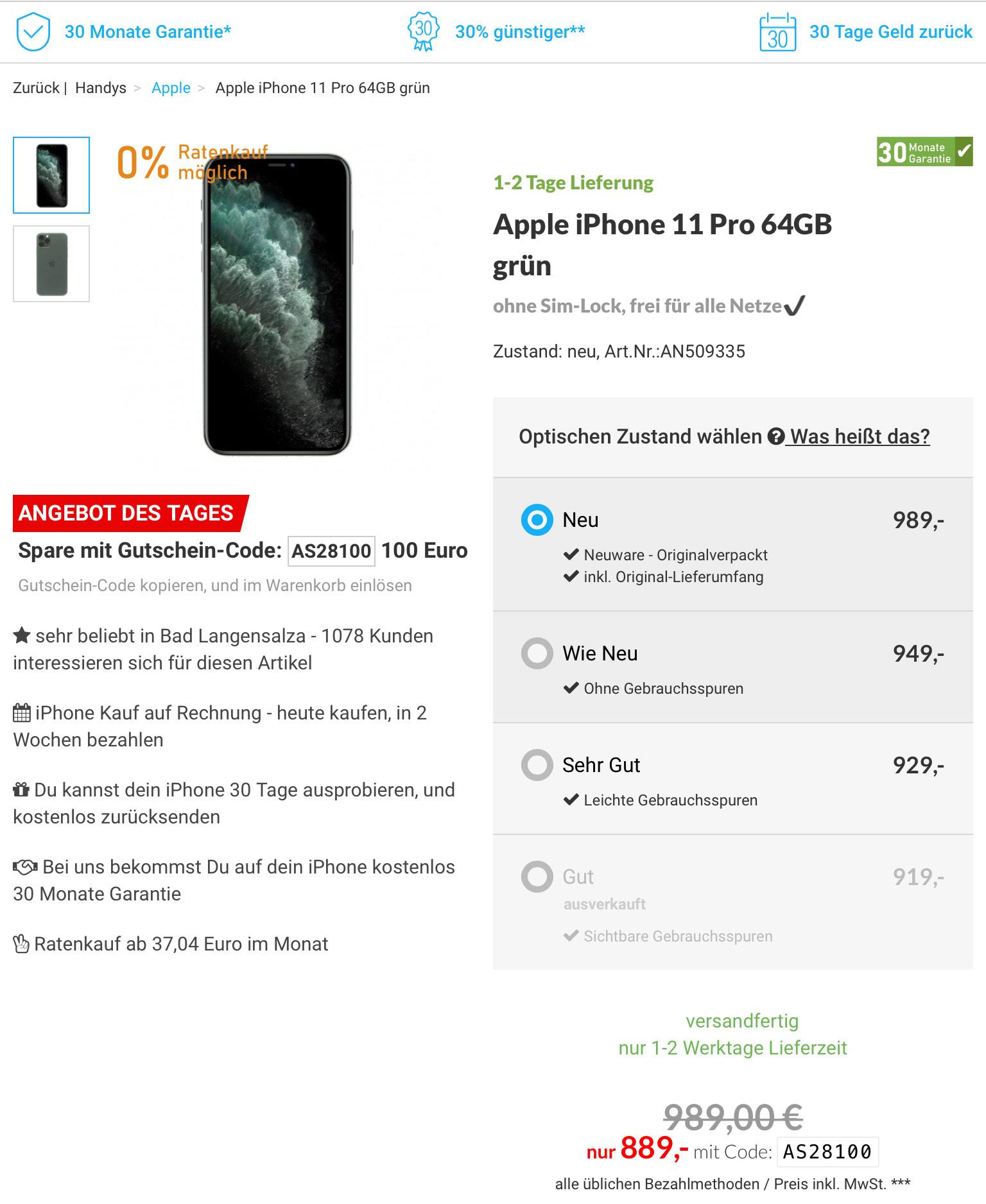 Apple iPhone 11 Pro grün 64 GB midnight green