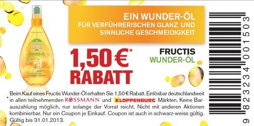 [Rossmann bundesweit] 1,50 Rabatt: Fructis - Wunder Öl für 4,50€ statt 8€