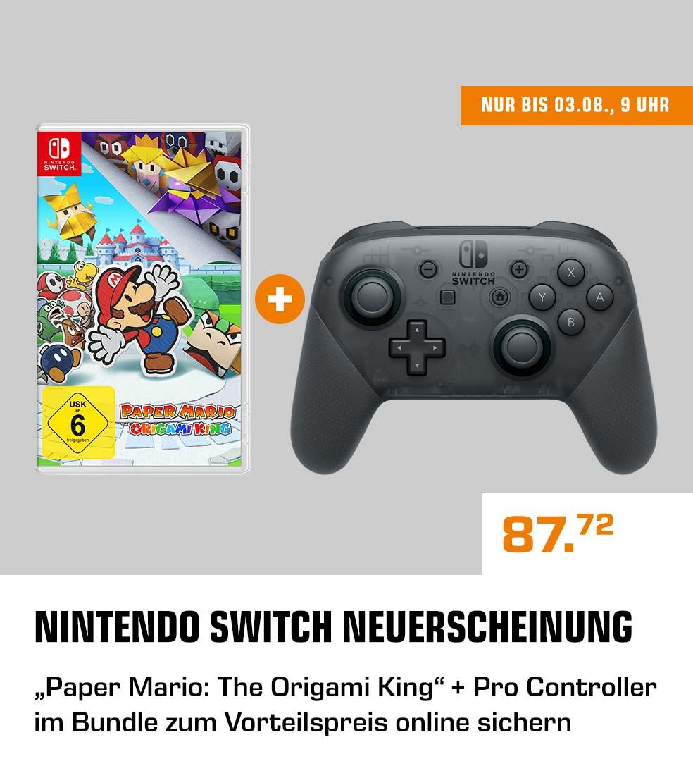 [saturn & Media Markt] Paper Mario - The Origami King + Switch Pro Controller, Grau