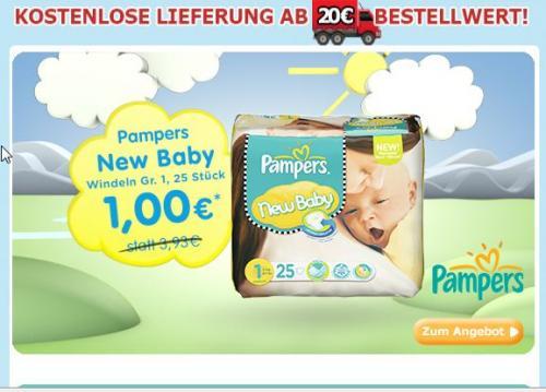 Pampers New Born 25Stk./ 1 Pack für 1 Euro