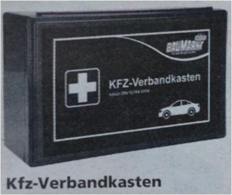 KFZ-Verbandkasten nach DIN 13164 für 3,89 Euro [Globus Baumarkt / Filialpreis]