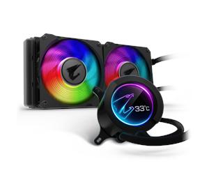 GIGABYTE AORUS Liquid Cooler 240 CPU - Wasserkühlung mit LCD-Display, RGB, Zwei 120-mm-ARGB-Lüfter