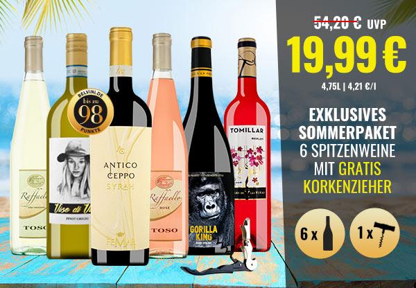 Belvini Sommer-Paket: 6er Weinpaket mit GRATIS Korkenzieher