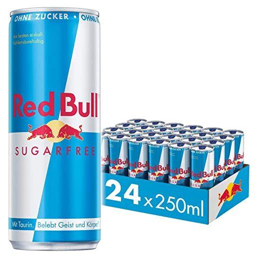 Red Bull Energy Drink Sugarfree oder Zero Dosen Getränke Zuckerfrei 24er Palette(pro Dose 0,64€), EINWEG (24 x 250 ml) - Prime*Sparabo*