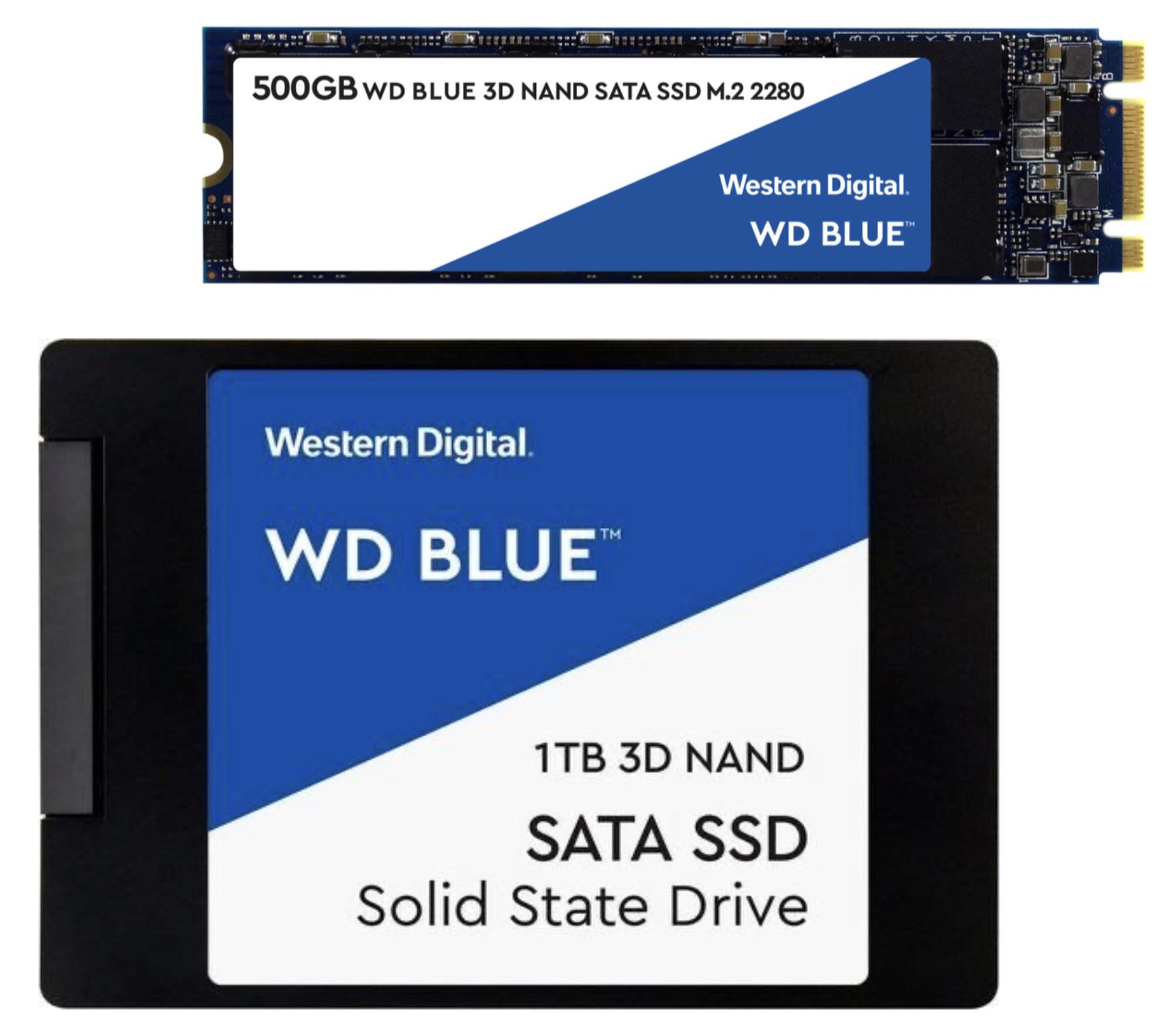 Western Digital Blue SSD 3D M.2 500GB für 50,94€ / 500GB SATA 2.5 intern für 52,94€ o. 1TB für 90,43€ inkl. Versandkosten