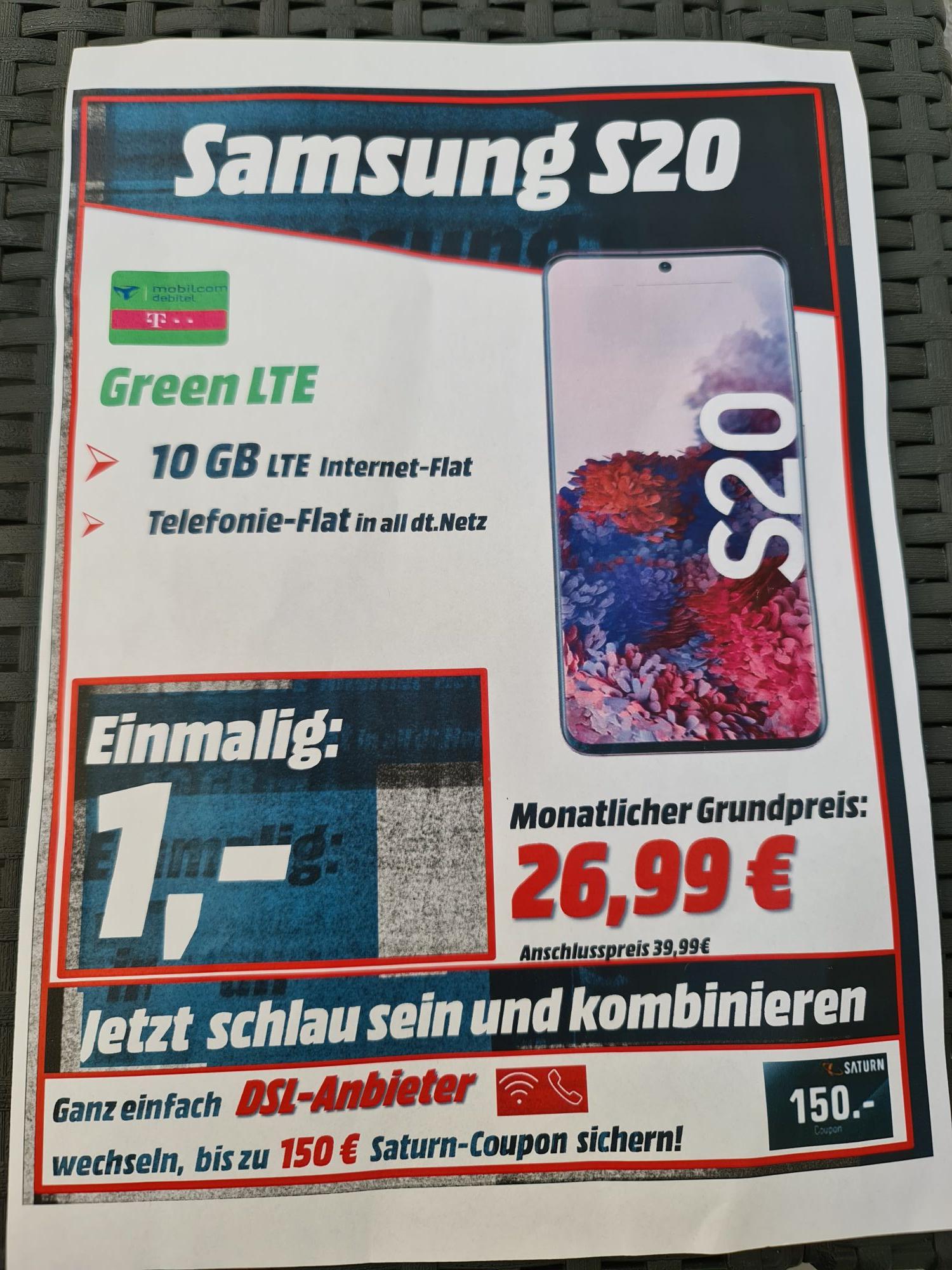 (Lokal Saturn Leverkusen) Mobilcom Debitel S20 26,99 im Monat Allnet 10GB Telekom