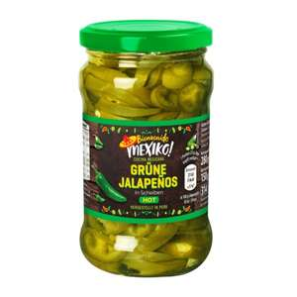 grüne Jalapeños im Glas, für die letzten Klopapier Reserven....