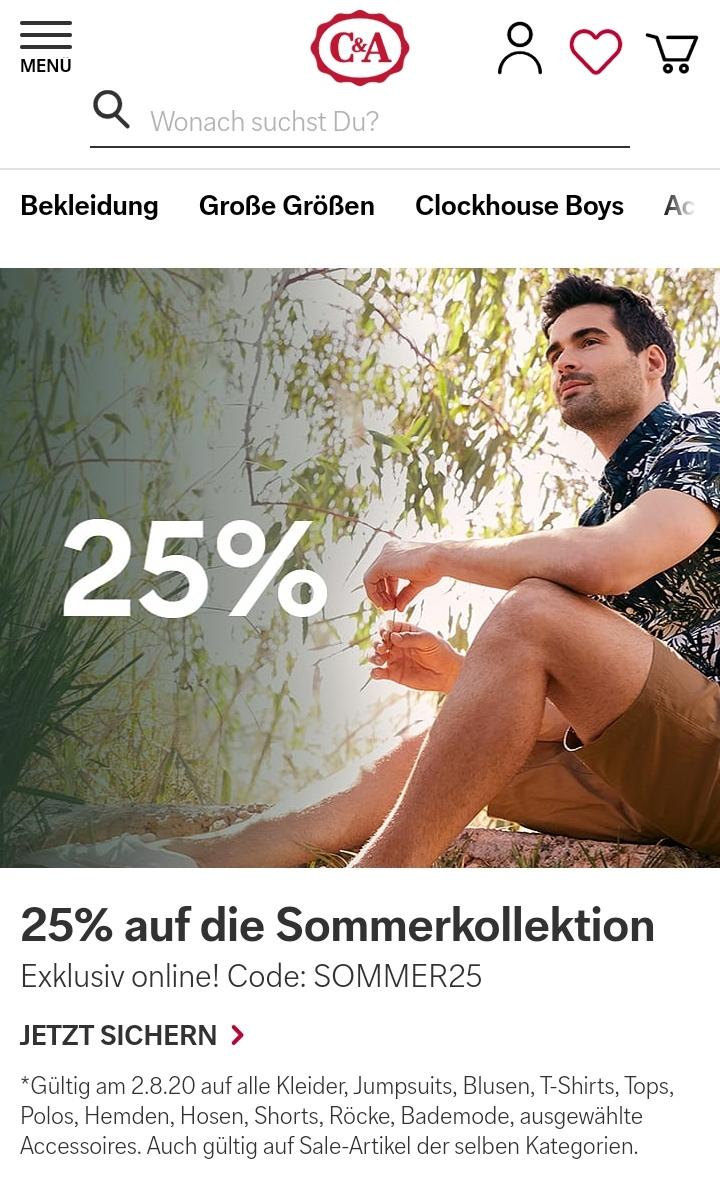 [C&A Online Shop] 25% Rabatt auf die Sommerkollektion auch auf Sale nur heute am 2.August