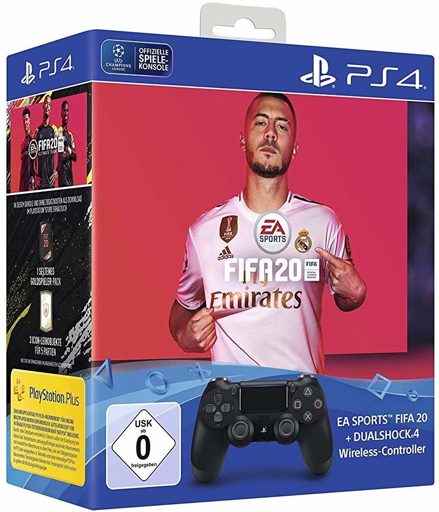Sony Playstation Dualshock 4 V2 Wireless Controller Jet Black + Spiel FIFA 20 PS4 Bundle für 54,44€ inkl. Versandkosten