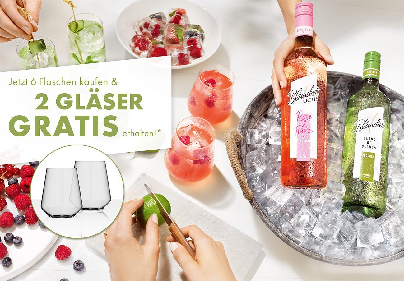 GRATIS: 2 Gläser beim Kauf von 6 Flaschen Blanchet