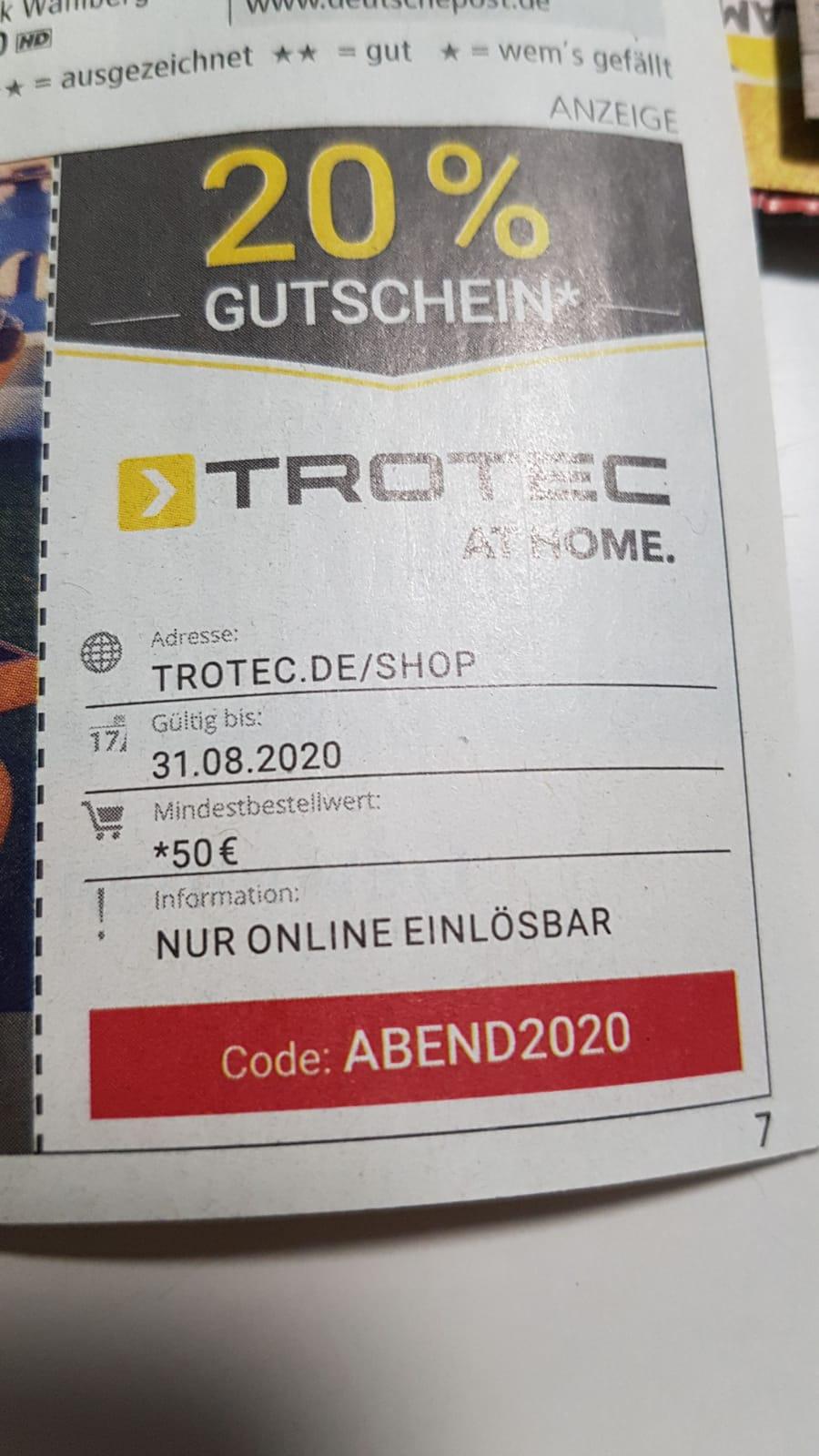 20% im Onlineshop von Trotec MBW 50€